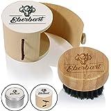Spazzola per barba da viaggio Eberbart con setole di cinghiale al 100%, con scatola + eBook gratuito – ideale per la cura quotidiana della barba (scatola in legno)