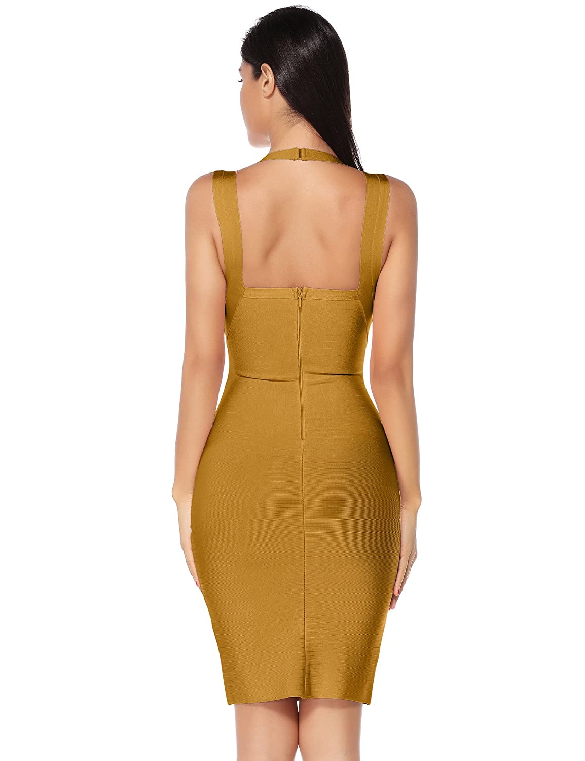 Meilun Womens Bandage Dress Square Neck Bodycon Club Dress