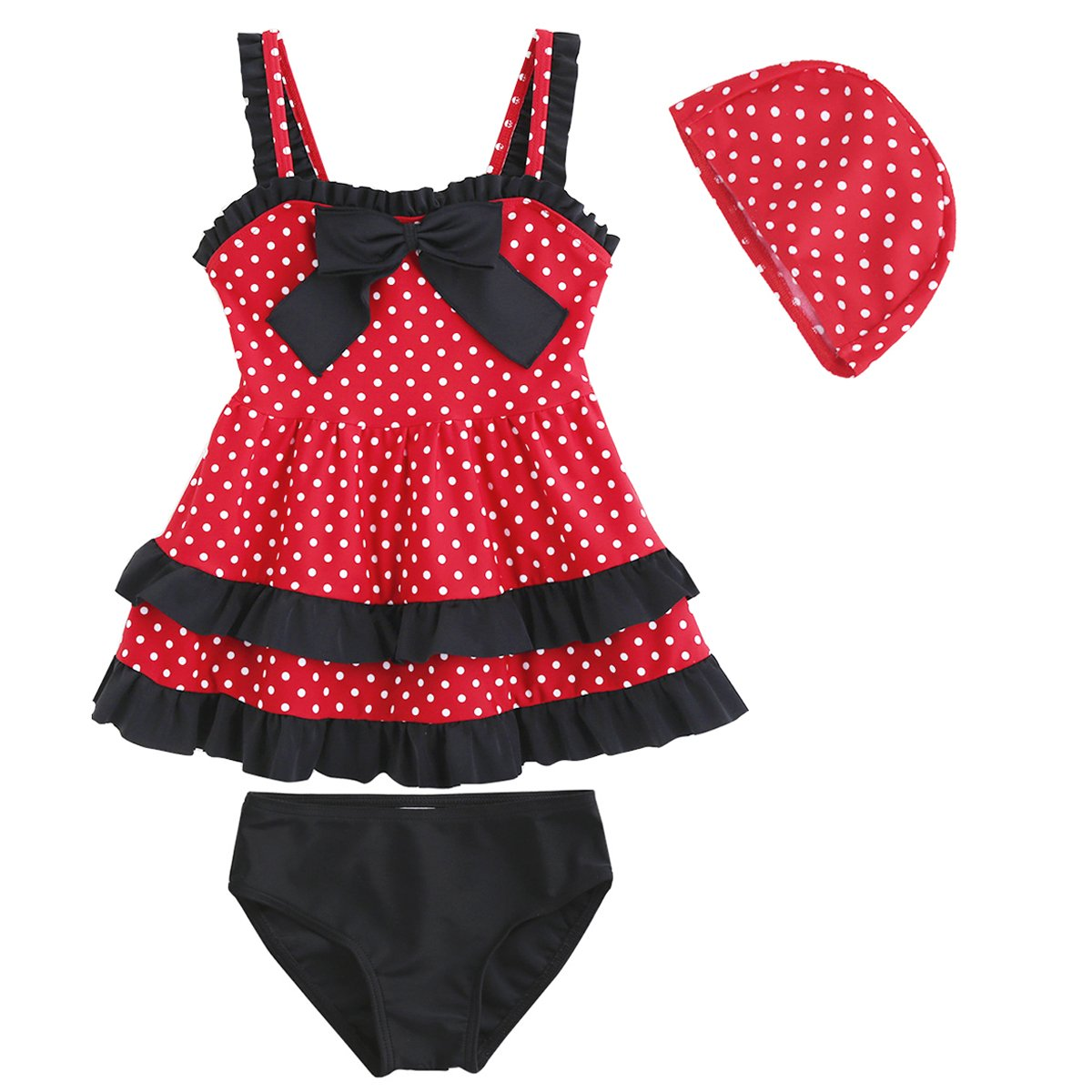OBEEII Baby Girl Polka Dot Swimsuit Tankini Ruffle Top Dress Bottom Cap Bathing Suit