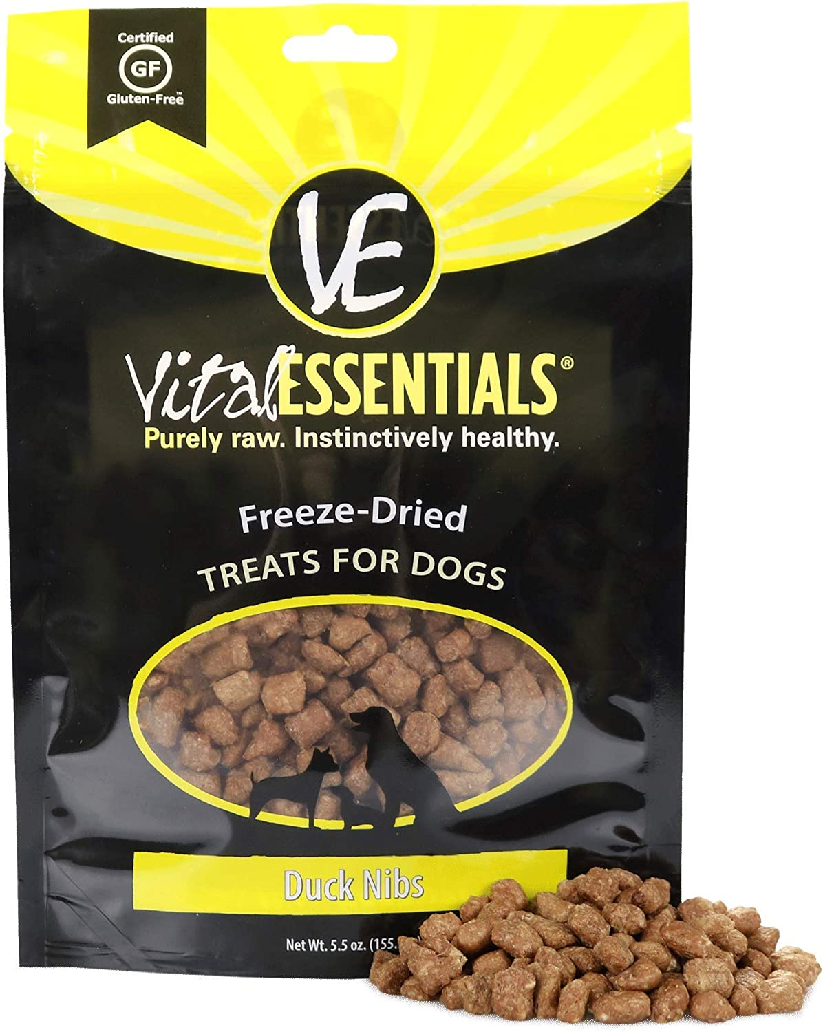 Vital Essentials Freeze-Dried Duck Nibs Family Size Dog Treats - All Natural - Made & Sourced in USA - Grain Free - 5.5 oz Resealable Pouch