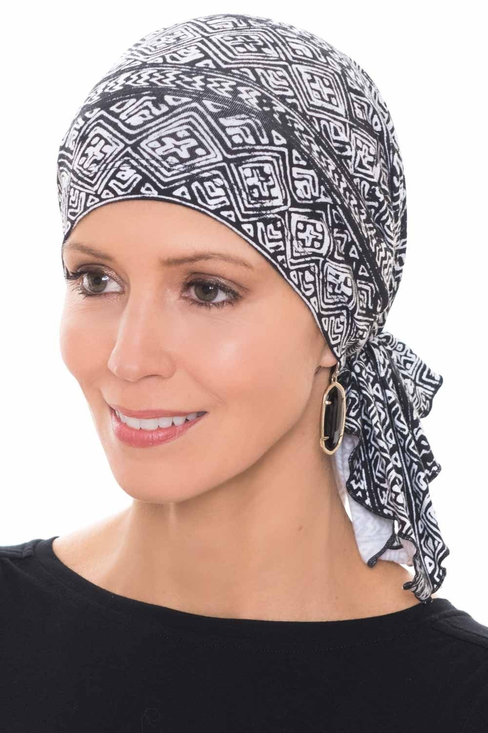 Headcovers Unlimited Slip-On Slinky Pre Tied Head Scarf - Scarves for Women with Cancer Chemo Aztec Tribal - Cotton HW-11708-8515