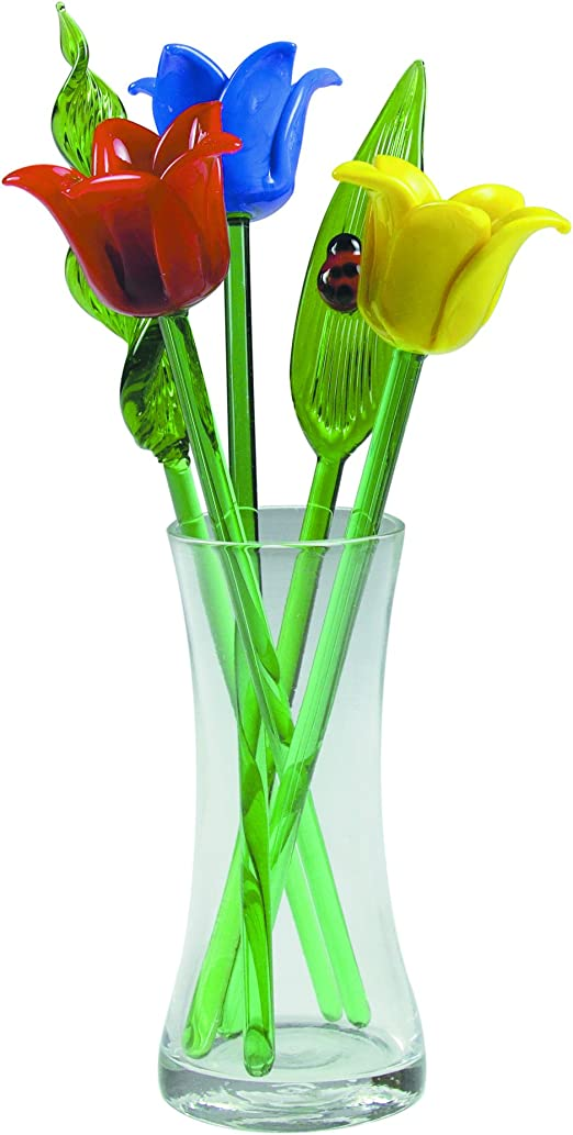 Bouquet 6 Glass Roses with Green Leaves vase not included! 6 Spring Flowers
