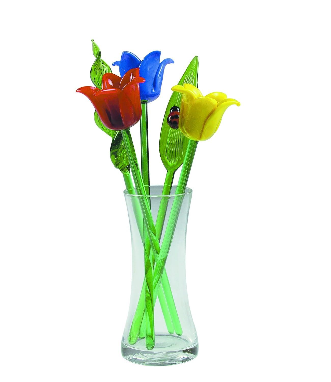 241 & NEW Hand Blown Glass Tulip Flowers \u0026 Leaves Set \u0026 Glass Vase \u0026 Ladybug on Leaf