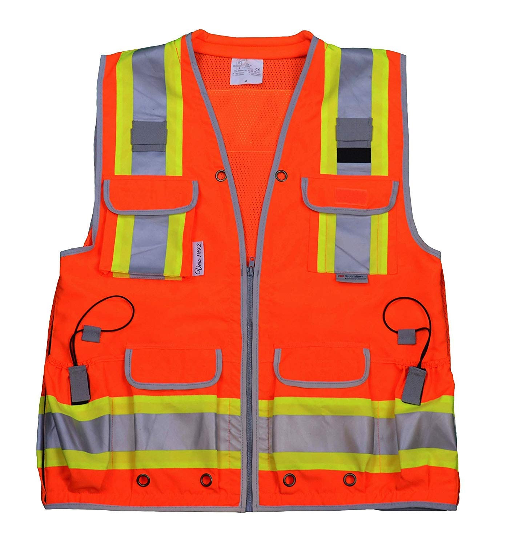 Radians Reflective Vest Class 2 Heavy Woven Two Tone Engineer Hi Viz Orange Safety Vest 3M 8712 Tape (3X-Large, Orange)