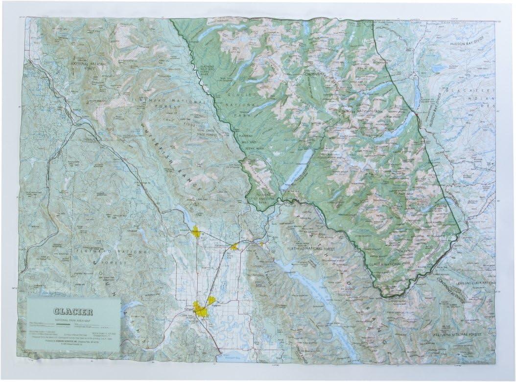Glacier National Park Raised Relief Map