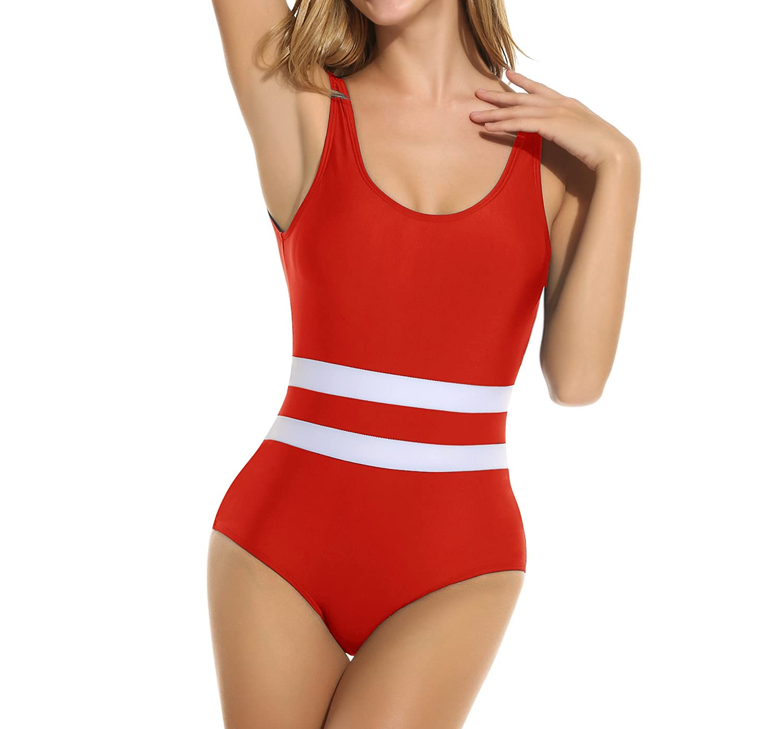 14367b3028f Ekouaer Womens One Piece Bathing Suit Monokini Swimsuit (Black, Red, Blue,  Dark Blue) at Amazon Women's Clothing store: