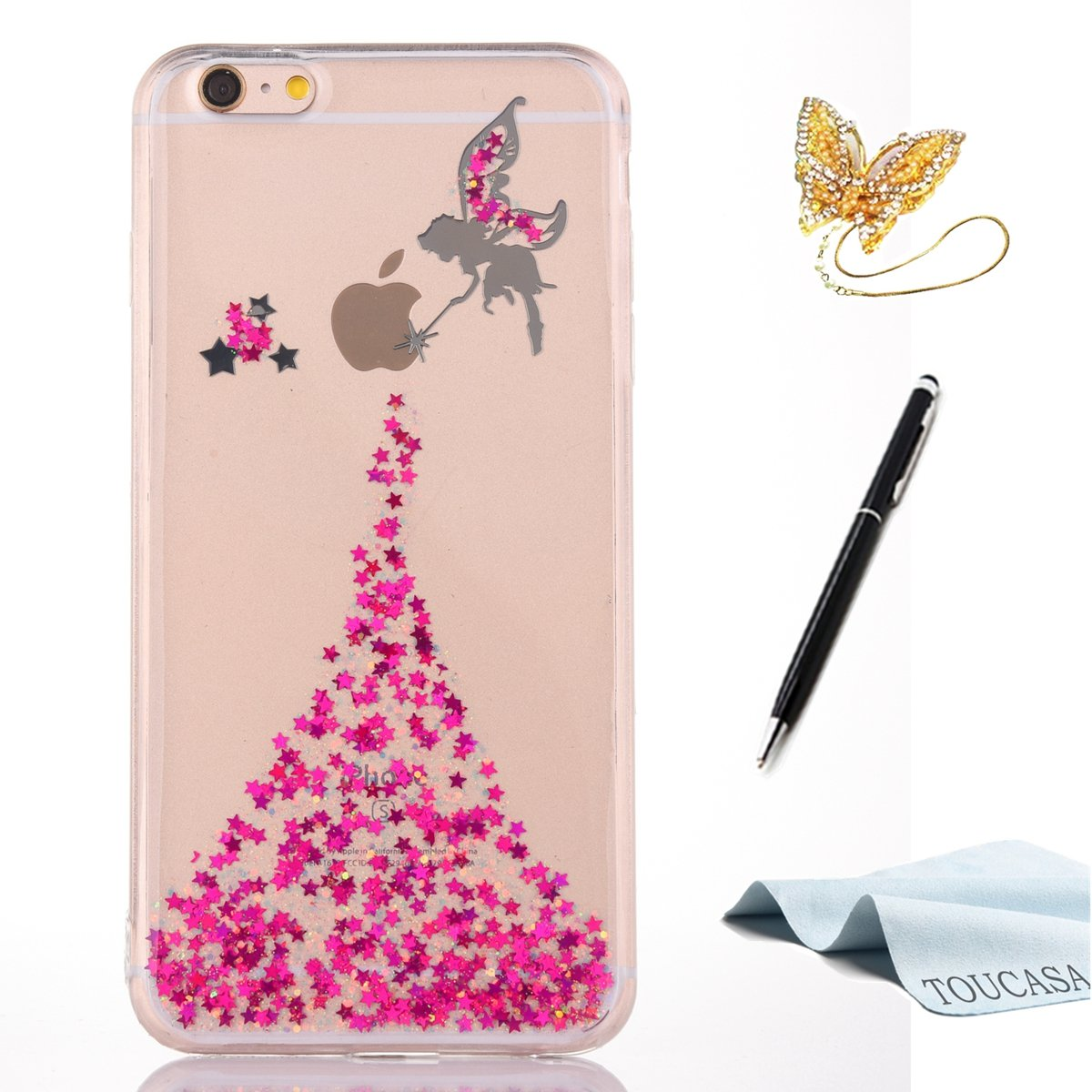 Coque iPhone 8, Housse iPhone 7, TOUCASA Anti Choc Silicone Coque, Bling Mince Souple Premium Hybrid Crystal Clear Flex Soft Gel Cover Skin Extra Slim Cristal Clair Gel TPU Neuf Style Brillant Bling Glitter Sparkle Pailletee Silicone Caoutchouc Cas Flash C