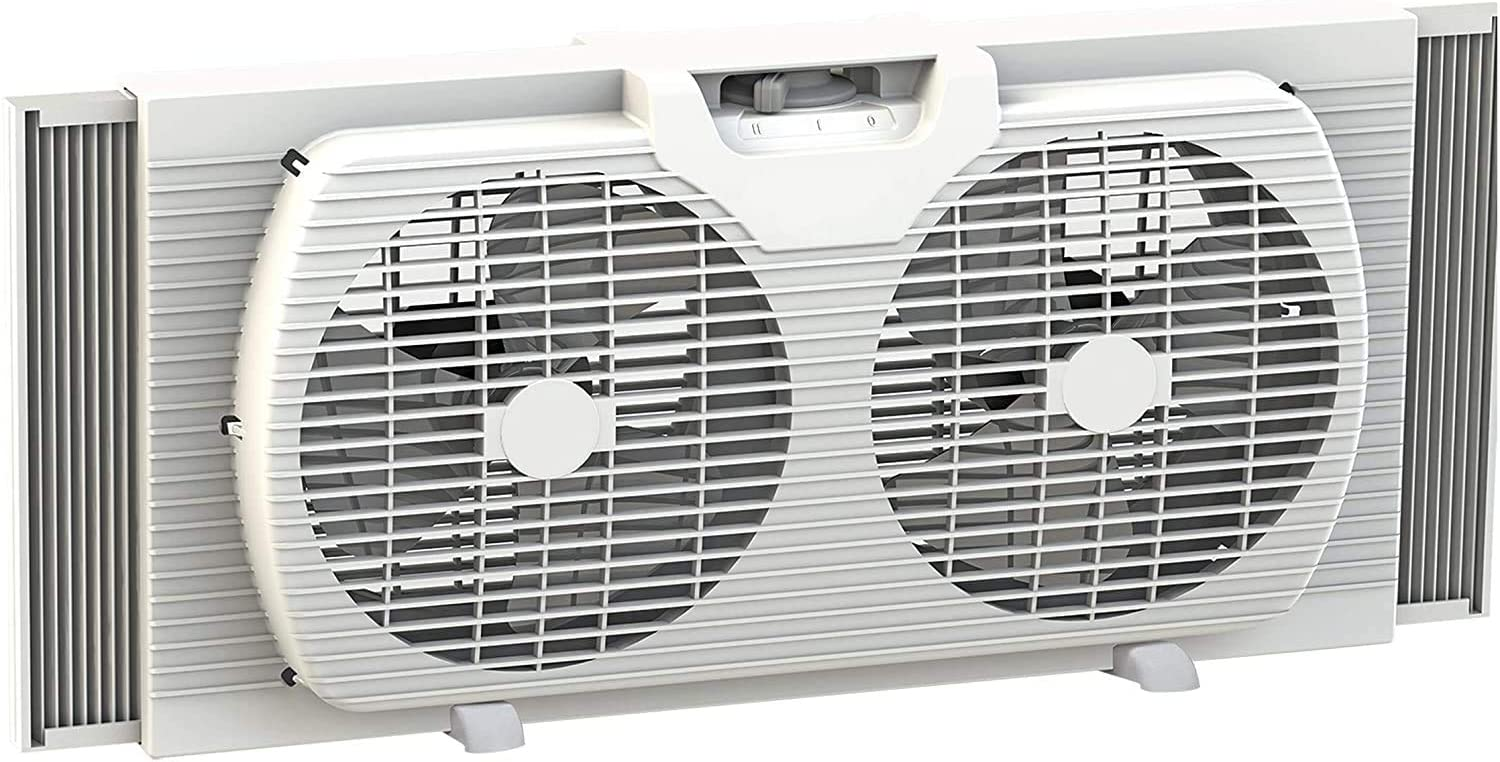 9-inch Twin Window Fan with Manual Reversible Airflow Control, Auto-Locking Expanders, Removable Mesh Cover & Bug Sceen, and 2-Speed Fan Switch