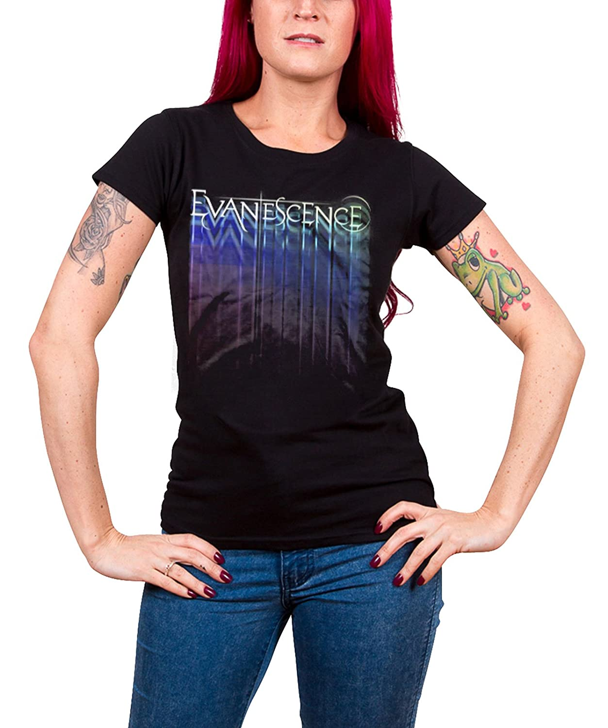 Evanescence T Shirt Tour Band Logo Official Womens Skinny Fit Black