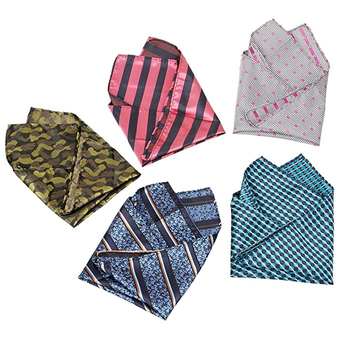 3277a3f50afa9 BMC Mens 5 pc Mixed Pattern Large 12 inch Pocket Square Fashion Handkerchief  Accessories - Set
