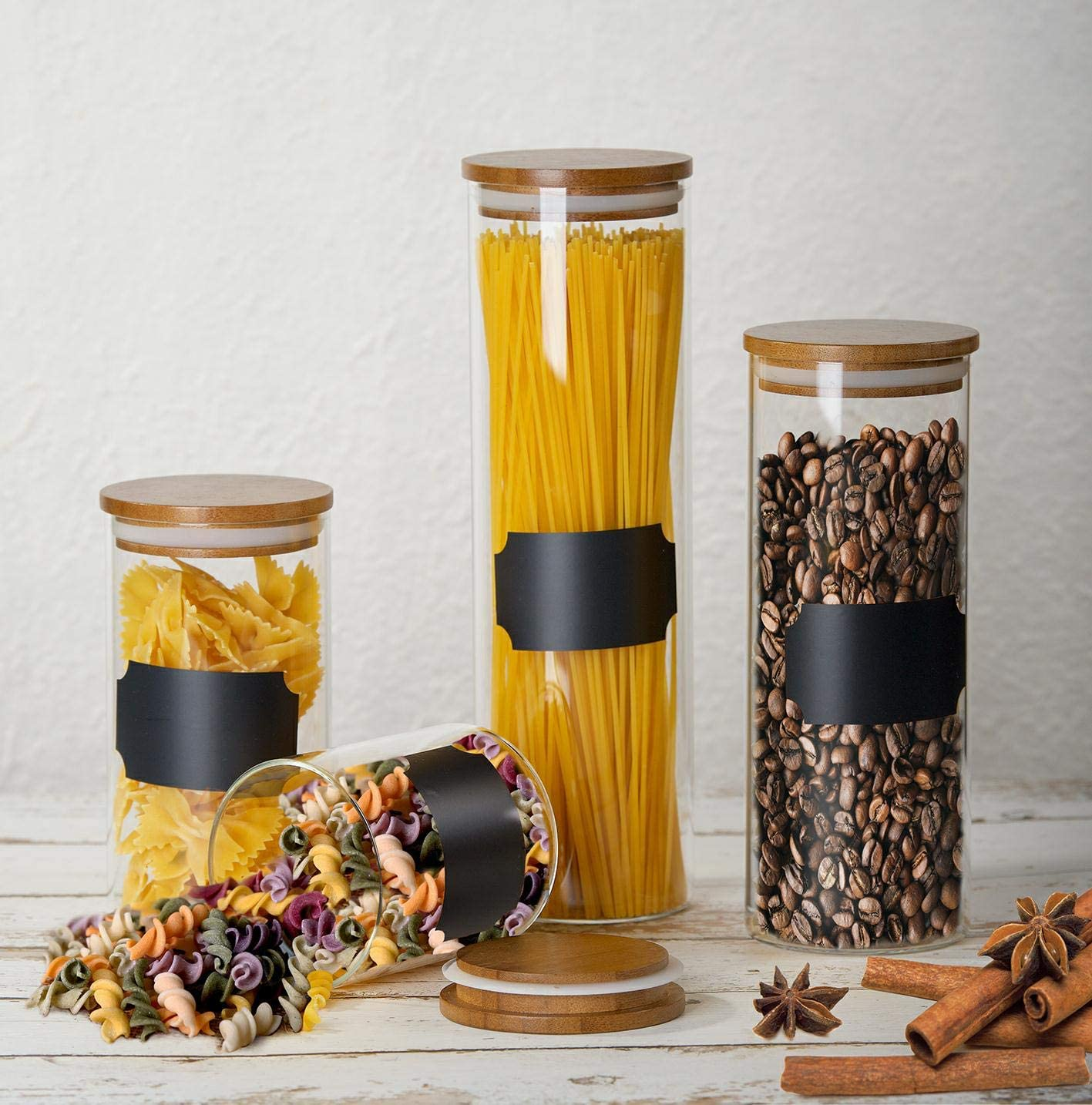 Bely Glass Food Storage Containers with Lids - Set of 4 Kitchen Canisters - Candy, Cookie, Rice and Spice Jars,Sugar or Flour Container,Big and Small Airtight Food Jar for Pantry