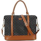 BAOSHA HB-28 Ladies Women Canvas Travel Weekender Bag Overnight Carry-on Shoulder Duffel Tote Bag (Black Dot)