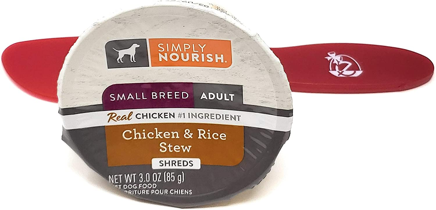 SIMPLY NOURISH Wet Dog Food Small Breed Adult Chicken and Rice Stew, Shreds 3.0oz (Pack of 24) and Especiales Cosas Spatula