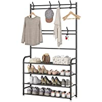 Coat Rack Shoe Rack,Storage Shelf with 4-Tier Shoe Organize ,Clothes Rack with 8 Hooks Hanging, Entryway Hall Trees…