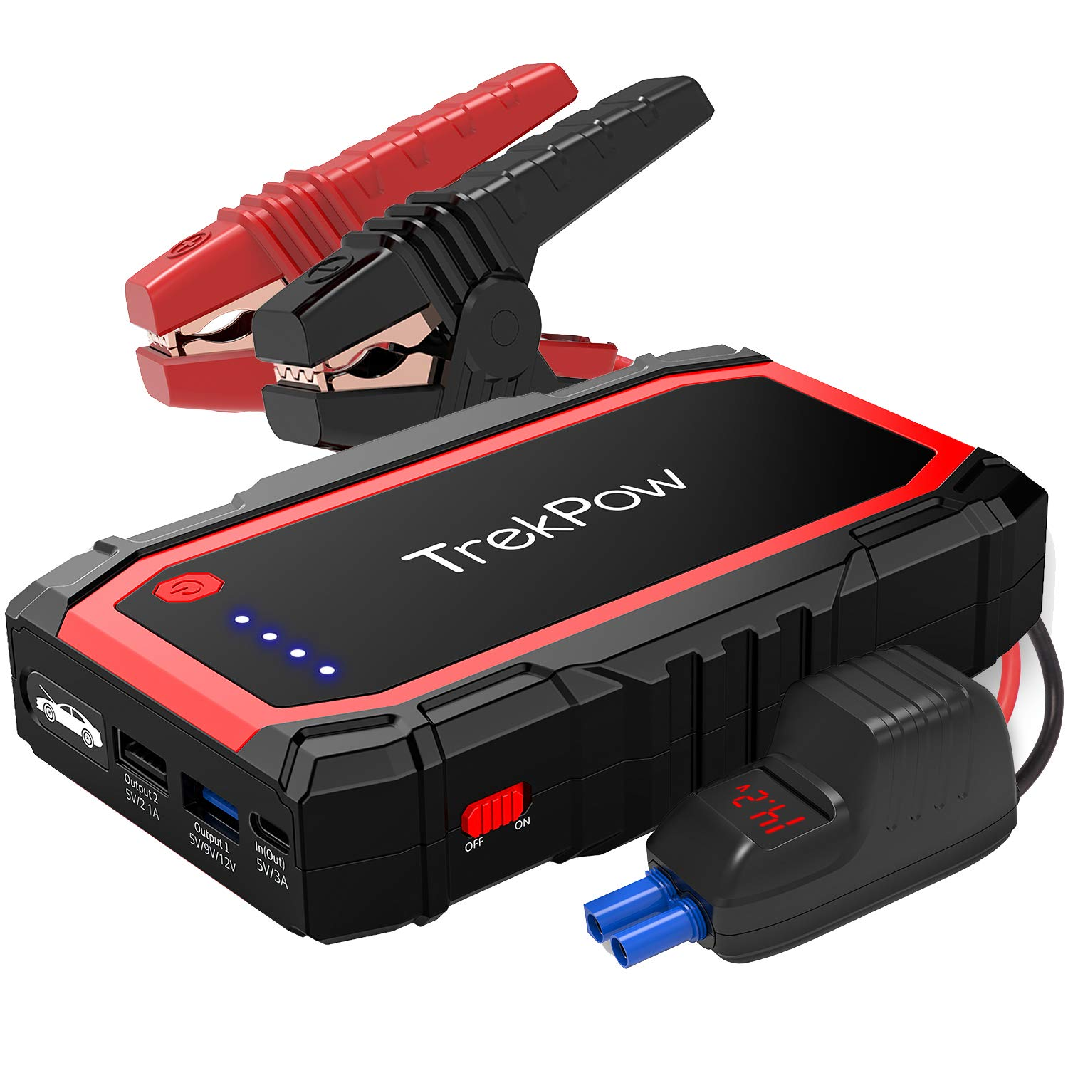 TrekPow A18 800A Peak Car Jump Starter (up to 6.0L Gas/5.0L Diesel Engine)12V Auto Battery Booster Jump Pack Portable Jump Starter with Smart Jumper Cables QC3.0 Quick Charger & Flashlight by ABOX