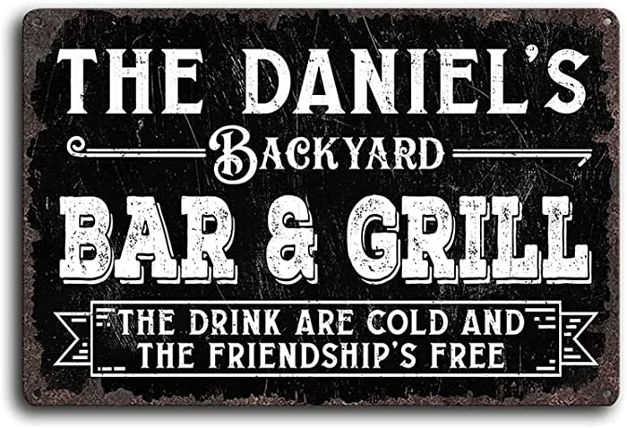 Personalized Backyard Bar & Grill Sign Customized Name Vintage Distressed Look Wall Decor Metal/Wooden Home Plaque Gifts Decorative Signs Indoor/Outdoor Use
