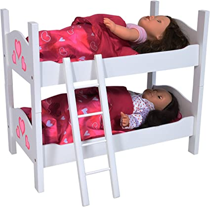 Amazon Com Bunk Bed For Twin Dolls Fits 18 Inch Dolls Toys Games