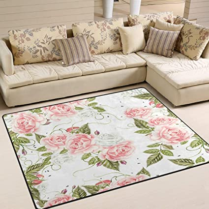 Tapis 63x48 Pouces Vintage Rose Flower Print Aquarelle pour ...