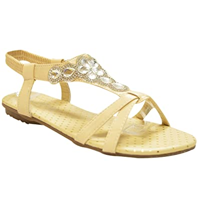 4a7684eaa7ae Xelay Womens Summer Sandals Low Wedge Heel Flower Diamante Slingback  Strappy Flat Flip Flop Open Toe