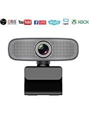 Webcam HD 1080P Stream Webcam Built-in Dual Microphones Computer Camera Compatible with Xbox OBS Twitch Skype YouTube XSplit, Compatible for Mac OS Windows 10/8/7