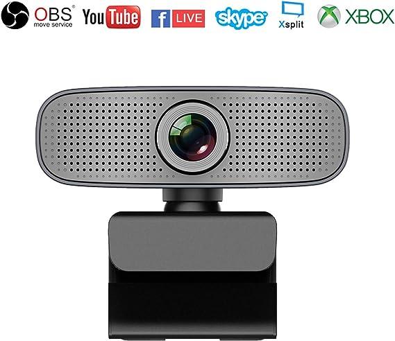 Webcam HD 1080P Stream Cámara Web con Micrófonos Duales Integrados Compatible con Xbox OBS Twitch Skype Youtube XSplit, Compatible con Mac OS Windows 10/8/7: Amazon.es: Electrónica