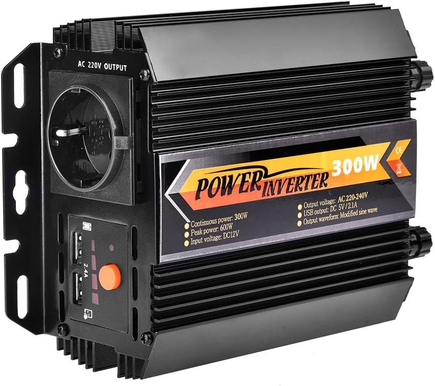 WZTO 300W Inversor de Corriente DC 12V a AC 230V, Certificado TÜV Convertidor de Corriente con 2 Puertos USB, Enchufe para Encendedor de Cigarrillos, Clips de Batería de Automóvil (300W~600W)