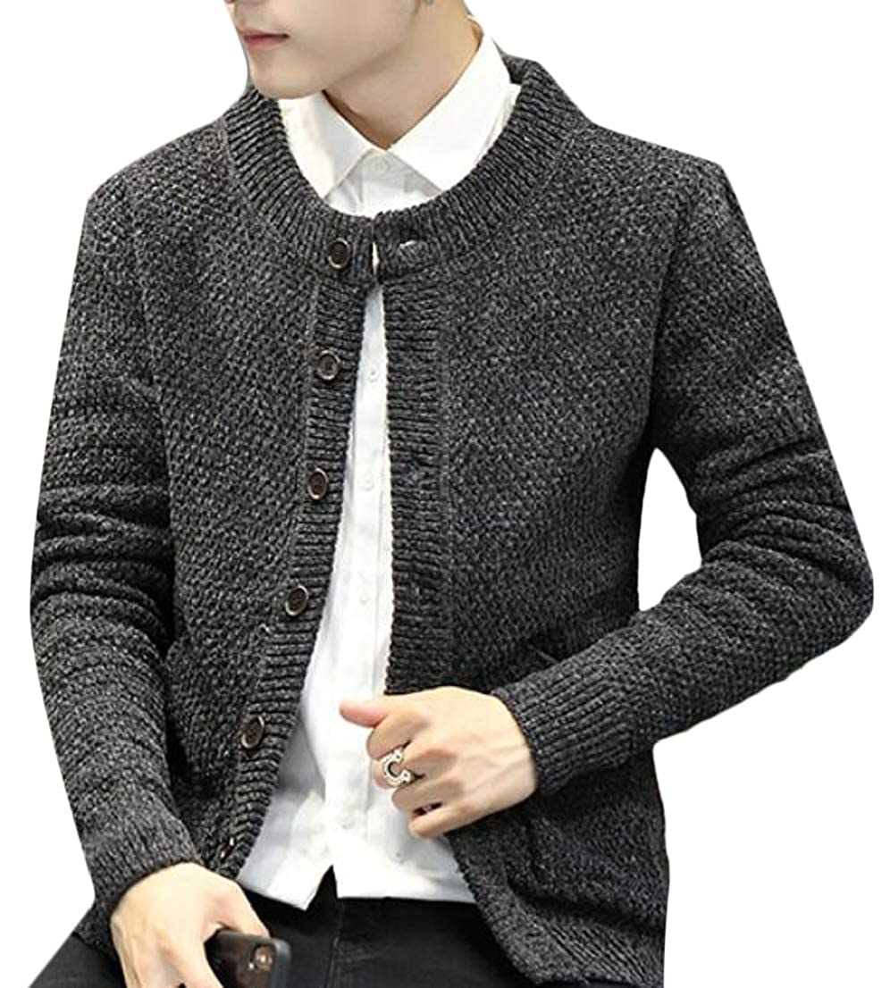 Generic Mens Casual Long Sleeve Cable Knitted Button-up Sweater Cardigan