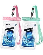 Mpow Funda Móvil Impermeable 2 Unidades,Funda Bolsa Impermeable IPX8 para Móvil Universal de 6 Pulgadas para iPhone XS/XS MAX/X/8/8 Plus/7/7 Plus,Huawei,Sony,Galaxy(Rosa/Verde)
