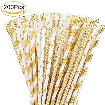 Gold Paper Straws Bulk,200PCS Biodegradable Drinking Straws ...