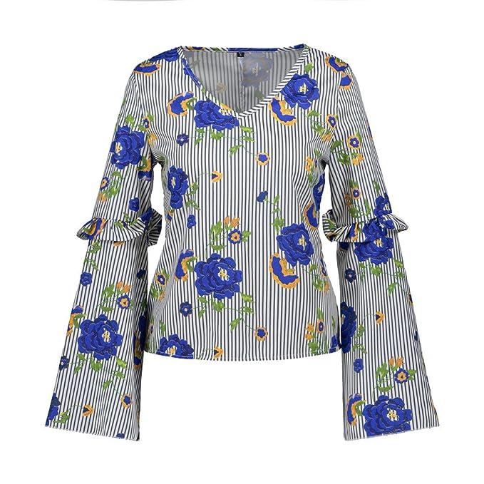 iBaste Elegante Camiseta Mujer Verano 2018 Cuello-V Estampado Floral Top de Manga Larga Casual