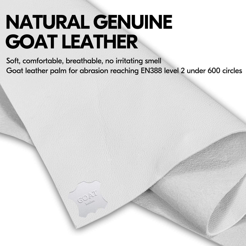 1Pair,Size L,White,GA9501HY Vgo EN388 Level 5 /& ANSI A3 Cut Resistant Top Grain Goatskin Work Gloves