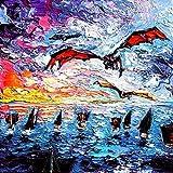 Game of Thrones Inspired art PRINT Daenerys Dragons - Crossing The Narrow Sea - Art by Aja 8x8, 10x10, 12x12, 20x20, 24x24 inch sizes
