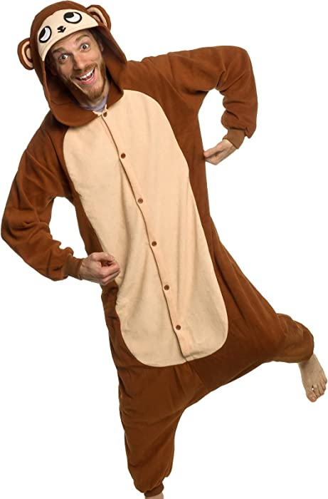 dd67e22d31 Silver Lilly Adult Pajamas - Plush One Piece Cosplay Monkey Animal Costume  (S)