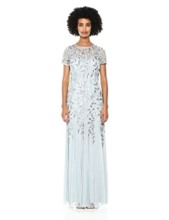 Adrianna Papell Womens Floral Beaded Godet Long Dress At Amazon