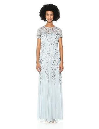 ce51c68ed9b84 Adrianna Papell Women's Floral Beaded Godet Long Dress, Blue Heather 4