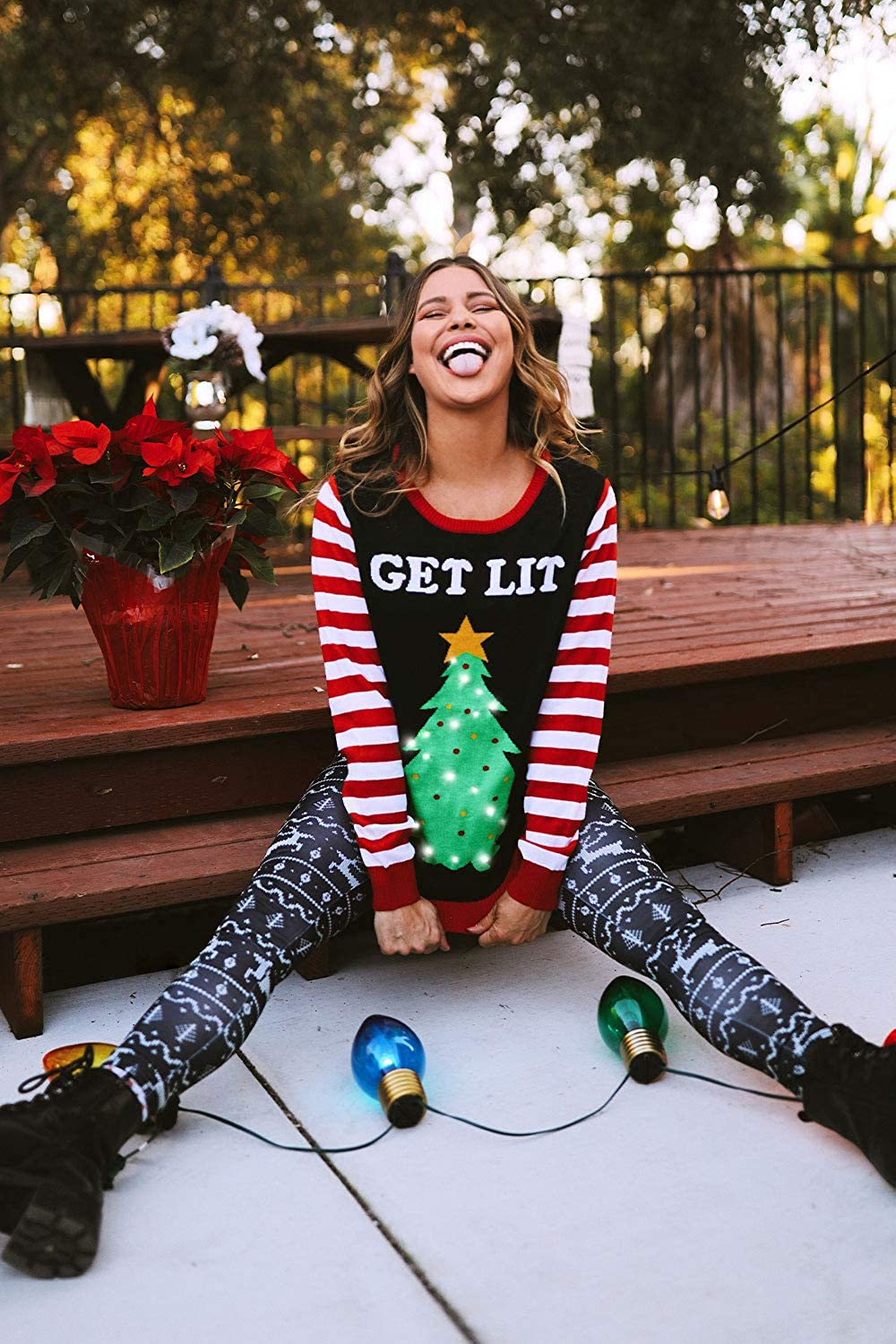 Black Lit Funny Ugly Christmas Sweater Female Tipsy Elves Womens Light Up Christmas Sweater