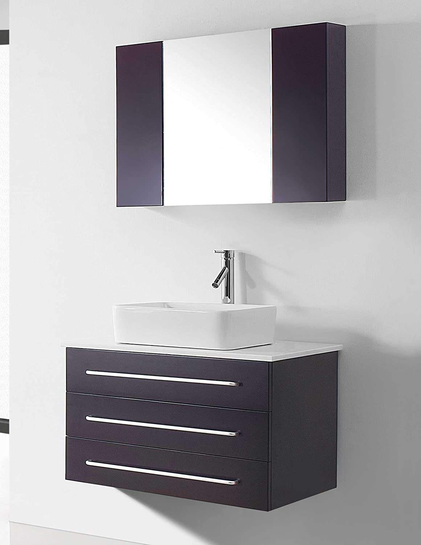 Virtu USA UM-3057-S-BL Ivy 33-Inch Wall-Mounted Single Sink Bathroom ...