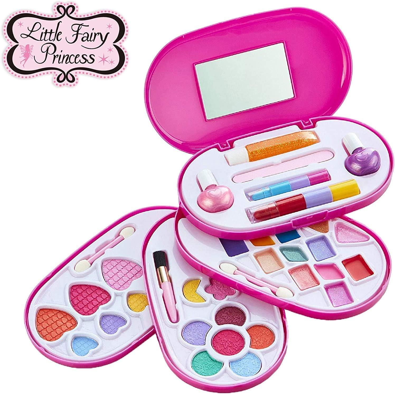 Little Fairy Princess – Estuche de Maquillaje Lavable para niñas - Set de cosméticos Infantiles de 4 Niveles - con Set de Belleza Compacto: Amazon.es: Belleza