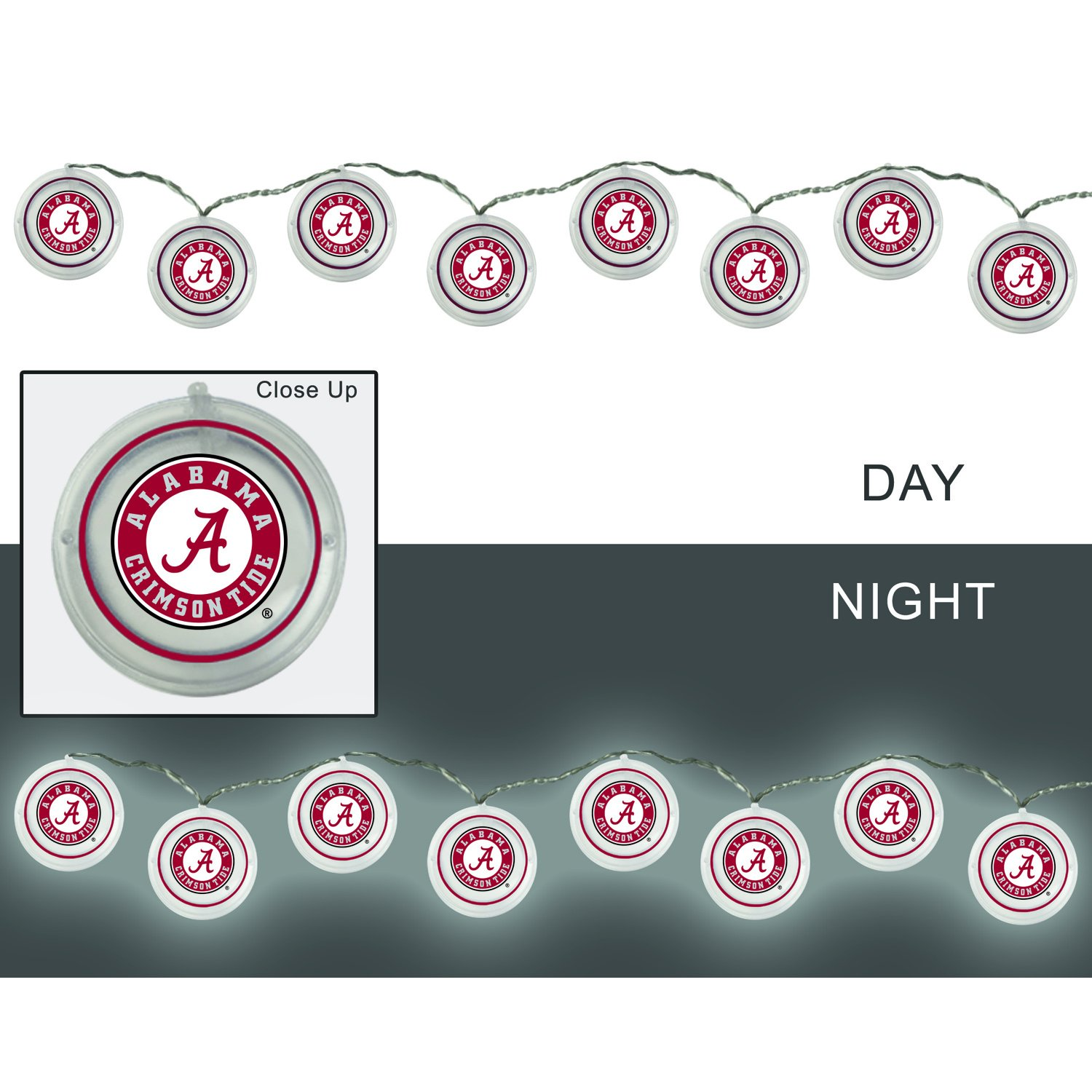 Team Sports America University of Alabama Outdoor Safe Battery Powered String Light Set