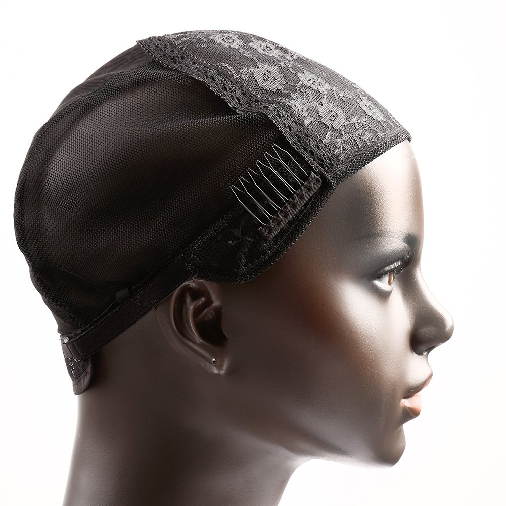 Bella Hair Glueless Wig Caps for Women Making Wig with Combs and Adjustable Straps Swiss Lace Black Medium Size by Bella Hair (Image #8)