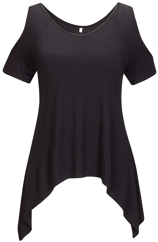 Bewish Women Off Shoulder Short Sleeve Wide Hem Design Basic Tunic Top Tee Shirt