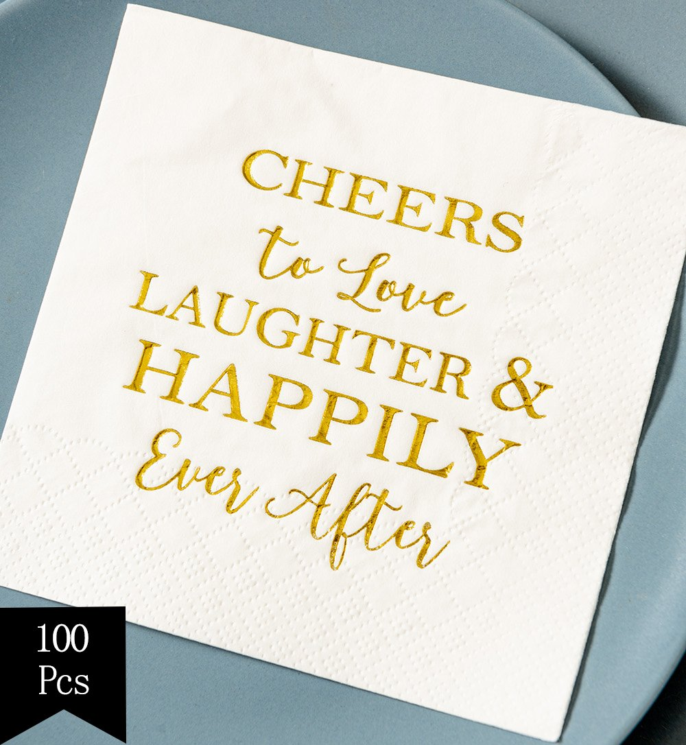 Crisky Bridal Shower Napkins Disposable Cocktail Napkins 3-Ply Gold Foil Text Beverage Napkins for Engagement Party Decorations & Wedding Shower