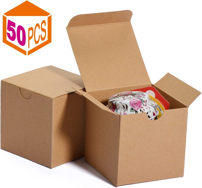 Cajas de regalo 7.6x7.6x7.6cm, cajas de papel blanco con tapas para regalos, manualidades, cajas de embalaje de magdalenas (50 piezas) (natural)