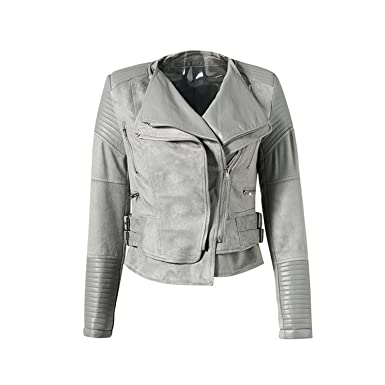 a44e8b44156 Image Unavailable. Image not available for. Color: Jimmetfrend Gray Zipper Suede  Faux Leather Jacket Women Autumn Winter Black Basic Jackets Casual ...