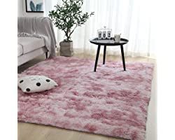 Leesentec Super Soft Indoor Modern Shag Area Rug Silky Smooth Fur Carpet Fluffy Carpet Anti-Skid Shaggy Area Rug Living Room