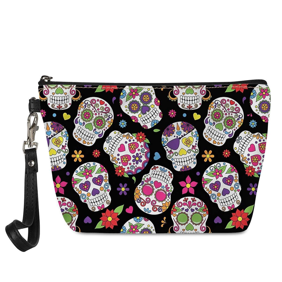 Mumeson Cool Sugar Skulls Print Women Protable Wristlet Cosmetic Pouch PU Leather Waterproof Makeup Clutch Bag