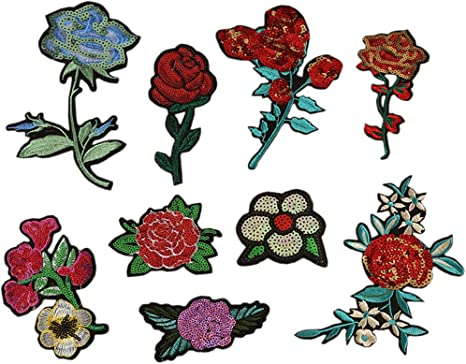 Rose Flower Sew For Clothes Iron on Patch Embroidered Applique badge Hat Motif