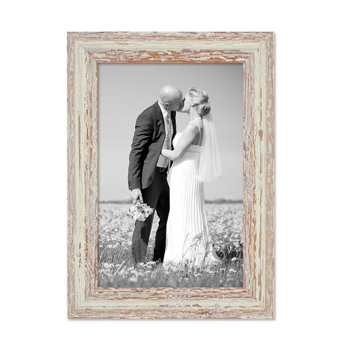 Amazon.de: Photolini Vintage Bilderrahmen 18x24 cm Weiss Shabby-Chic ...