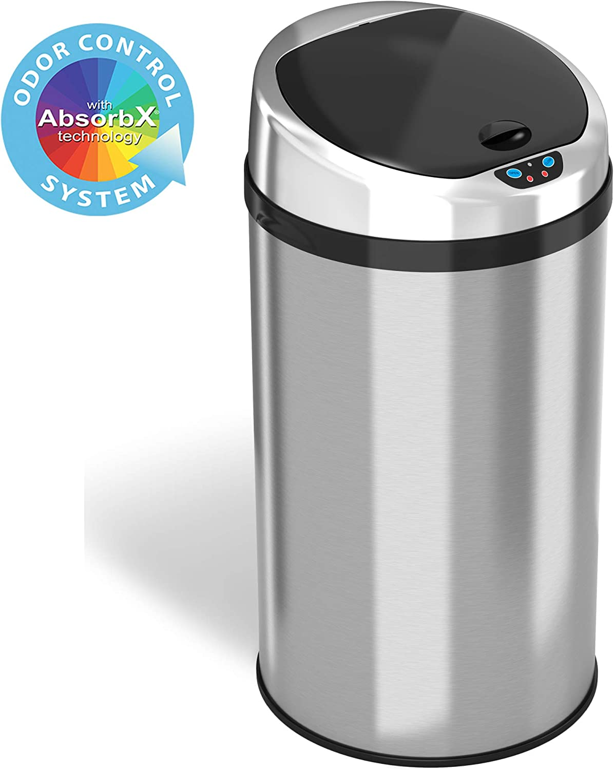 iTouchless 8 Gallon Touchless Sensor Trash Can with Odor Filter System, 30 Liter Round Stainless Steel Garbage Bin, Perfect for Home, Kitchen, Office
