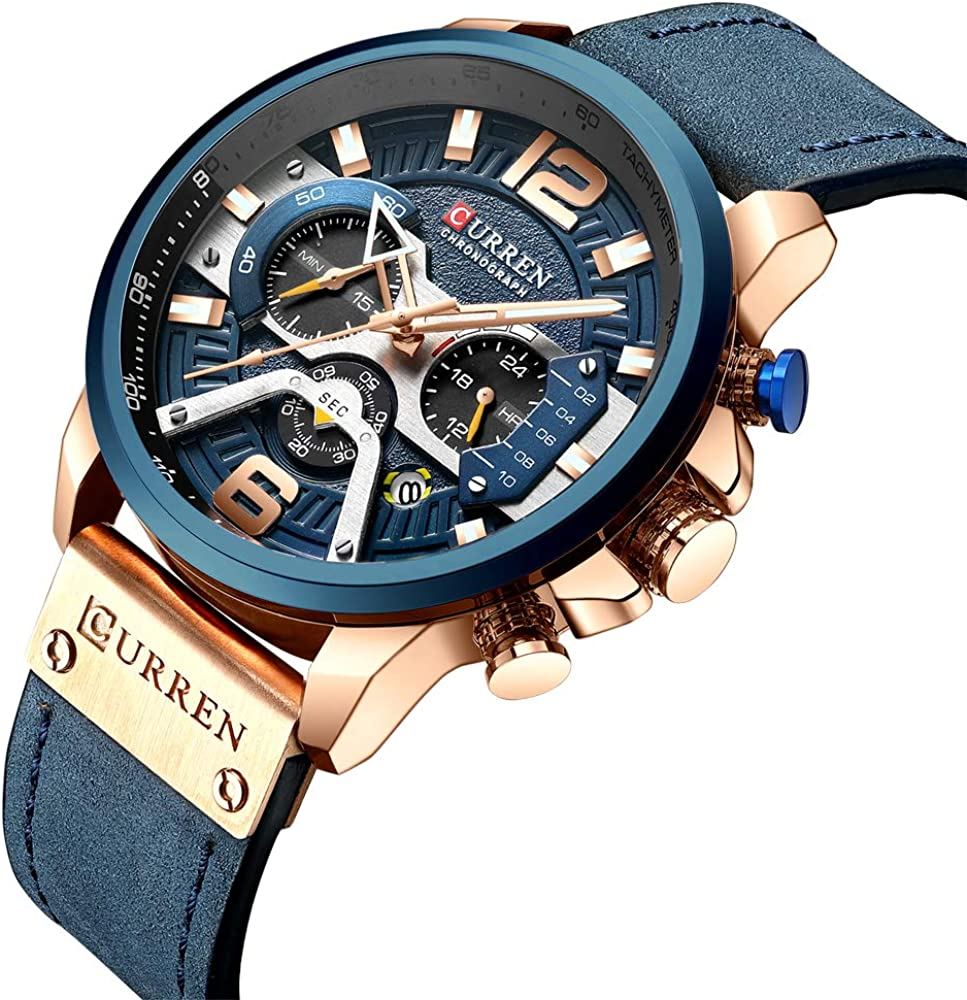 Mens Watches,CURREN Watches Quartz Analog Calendar,Wrist Watch for Men, Fashion Waterproof Stainless Steel Band